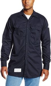 Bulwark Men's Flame Resistant Cotton Work Shirt with Sleeve Vent