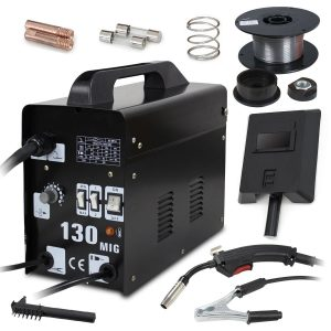 Super Deal Black Commercial MIG 130 AC Flux Core Wire Automatic Feed Welding Machine